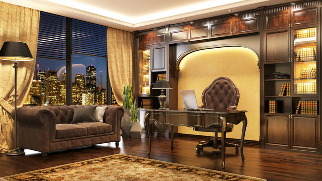 Luxurious classic boss office interior with window and sofa.