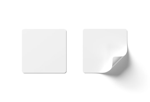 Squared sticker mockup isolated on white 3D rendering