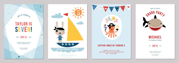 Birthday boy invitation cards set. Vector illustration.