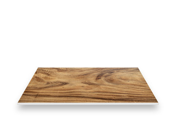 Wood table perspective isolated on white.
