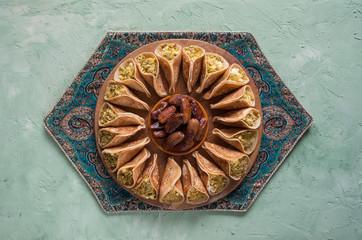 Qatayef Asafiri, Arabian pancake stuffed with sweet cheese.