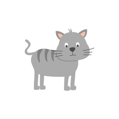 Cute cat on white background. Vector illustration.
