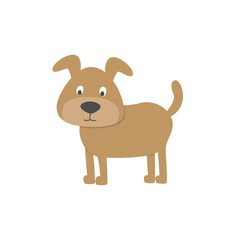 Cute dog on white background. Vector illustration.