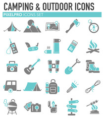 Camping icons set grey blue on white background for graphic and web design, Modern simple vector sign. Internet concept. Trendy symbol for website design web button or mobile app