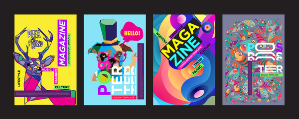 Cover and Poster Design Template for Magazine. Trendy Vector Typography and Colorful Illustration Collage for Cover and Page Layout Design Template in eps10.