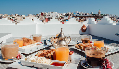 Typical moroccan breakfast on a terrace overlooking Tangier, Morocco.