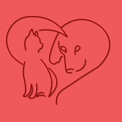 emblem of a dog and a cat in the form of a heart