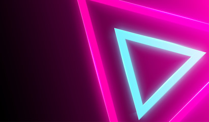 Abstract background with pink and blue shiny neon triangles pattern.