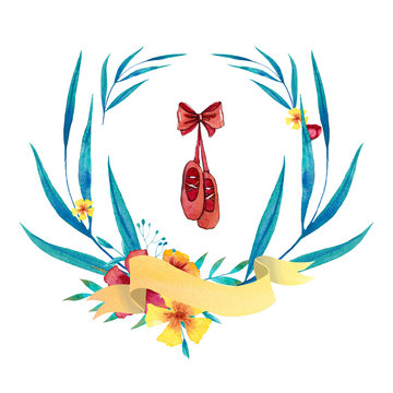 Watercolor blue and yellow wreath with ballet shoes, banner, flowers, leaves and branches. Hand drawn illustration.