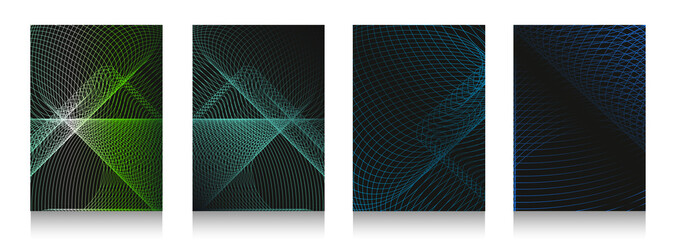 Set of abstract mesh backgrounds. For decoration of pages, covers, flyers, banners, magazines, posters, albums, presentations, etc.