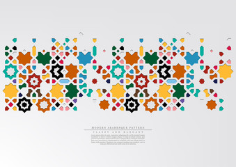 Modern arabesque pattern collection colorful background template vector