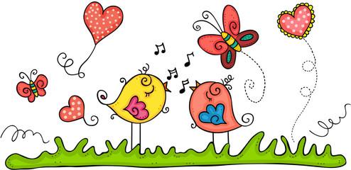 Spring illustration with birds singing