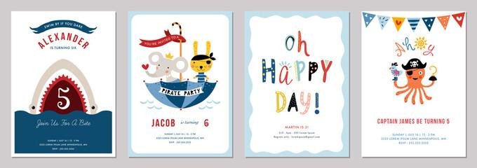 Birthday boy invitation cards set.