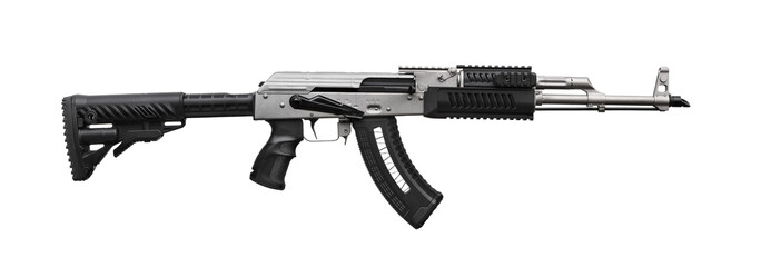 Modern black silver automatic rifle isolated on white
