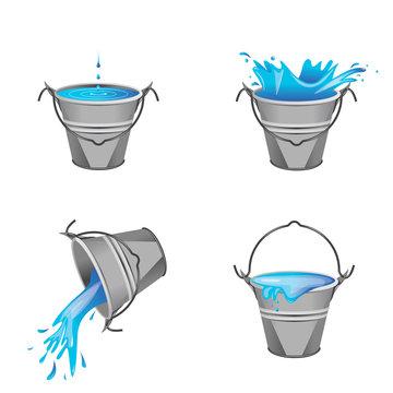 Effet d'eau - seau en métal 2