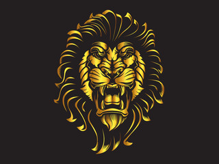 Lion angry face gold tattoo. Vector illustration of lion head. Safari print.