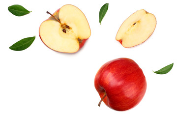 red apples with slices isolated on white background. top view