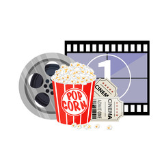 Movie time vector illustration. Cinema poster concept on red round background. Composition with popcorn, clapperboard, 3d glasses and filmstrip.