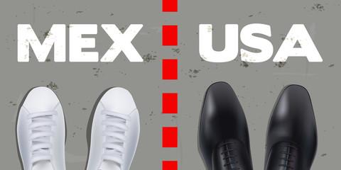 Concept de la frontière entre le Mexique et les États-Unis avec deux paires de chaussures de part et d'autre d'un pointillé, représentant d'un côté un migrant mexicain et de l'autre un opposant améric