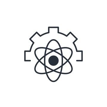 Quantum processor Vector linear icon, white background.