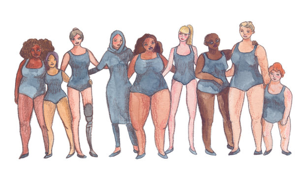 Different women standing in a row hugging each other. Illustration painted in watercolor and pencil on clean white background