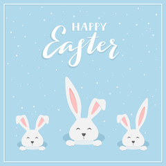 Happy Easter rabbits on blue background