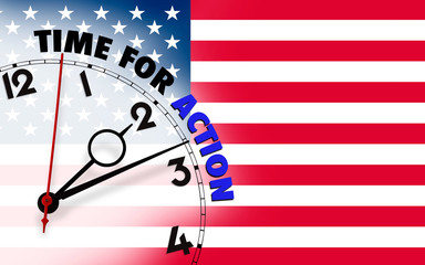 Clock with time for action against US flagged background.