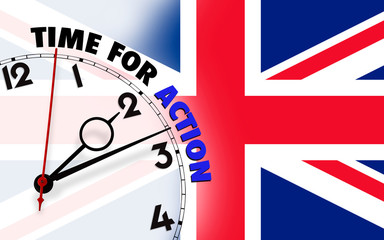 Clock with time for action against UK flagged background
