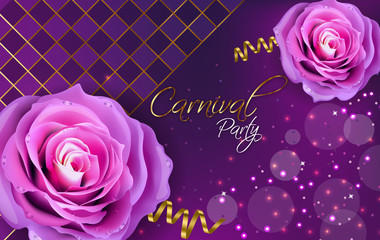 Purple roses Vector realistic. Violet background with glitter lights decors