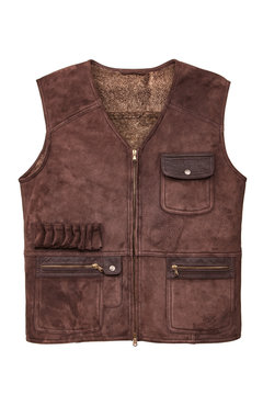 Brown leather hunting vest with fur, with pockets isolated on white