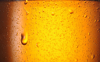Wall Mural - Drops om misted glass of beer bottle.