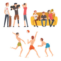 Friends Spending Good Time Together Set, Guys Talking, Playing Ball and Computer Games, Male Friendship Vector Illustration