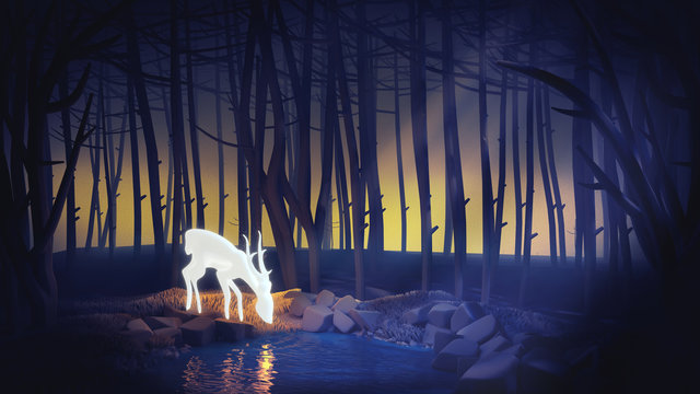 Glowing deer drinks water from the pond in the moonlight. Morning forest. Cartoon illustration background. Blue landscape with silhouettes of trees in the misty forest. White fairy deer. 3D rendering.