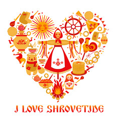 Vector set on the theme of the Russian holiday Carnival. Russian translation I love Shrovetide or Maslenitsa.