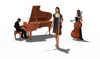 Musiker mit Klavier, Violine, Geige und Cello, freigestellt