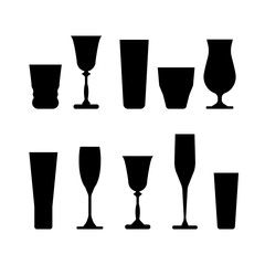 set of wine glasses. Silhouette vector illustration on white background.