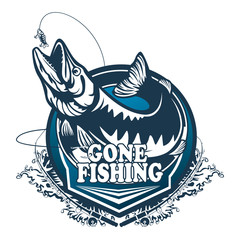 Pike fishing emblem. Pike fish logo vector. Outdoor fishing background theme. Angry fish logo.