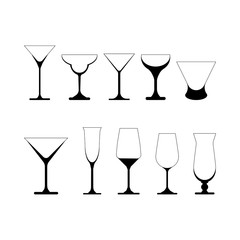 set of martini glasses