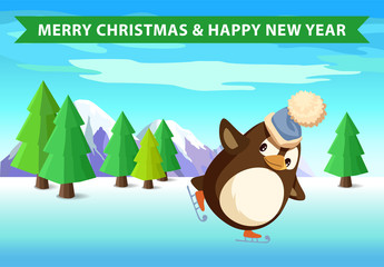 Christmas and New year, penguin on skating in forest. Ice and snow, bird in Santa hat on skates, firs and spruces, mountains and winter sport vector