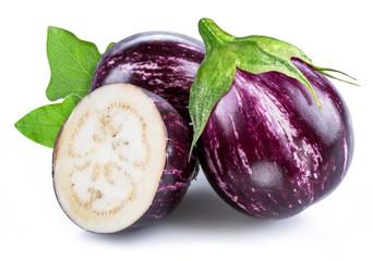 Aubergine or eggplant on white background.