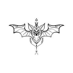 Bat tribal vectoor ornate elegant tattoo