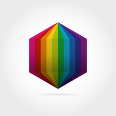 Smooth color gradient hexagon icon logo. Vector illustration for your design project.