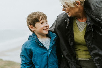 Happy boy with this grandmother