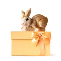 easter bunny on an orange gift box