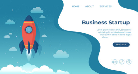 Business startup, financial planning, idea, strategy, management, realization and success. For website and mobile development. Landing page template. Rocket launch on the clouds and blue sky. Vector