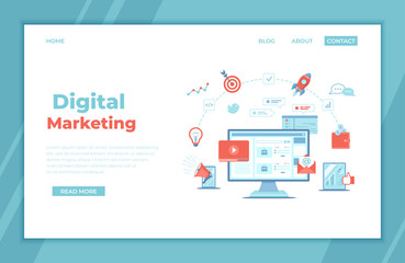 Digital Marketing concept. Landing page template. Business analysis, targeting, management. Social network and media communication. SEO, SEM. Vector illustration.