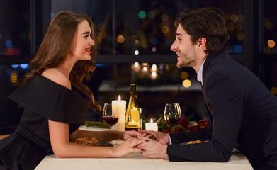 Loving couple in a restaurant