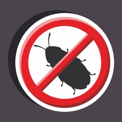 Vector illustration of a stickers set of isolated  no sign - No cockroach sign