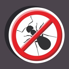 Vector illustration of a stickers set of isolated  no sign - No ant sign