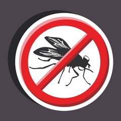 Vector illustration of a stickers set of isolated  no sign - No fly sign
